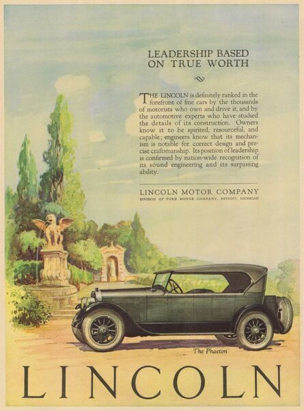 Advert for Lincoln Motor Company, 1924, USA Date: 1924