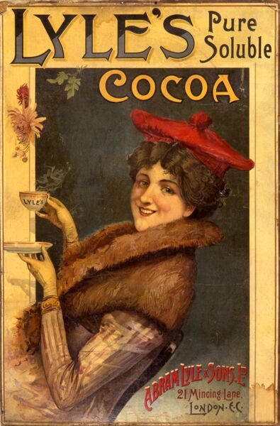 Advertisement showing a smiling young woman wearing a tam o'shanter and fur collar coat holding a steaming hot cup of Lyle's Cocoa made by Abram Lyle & Sons Ltd of 21 Mincing Lane, London