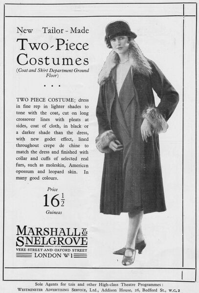 Advert for Marshall & Snelgrove two-piece costume, 1925, London Date: 1925