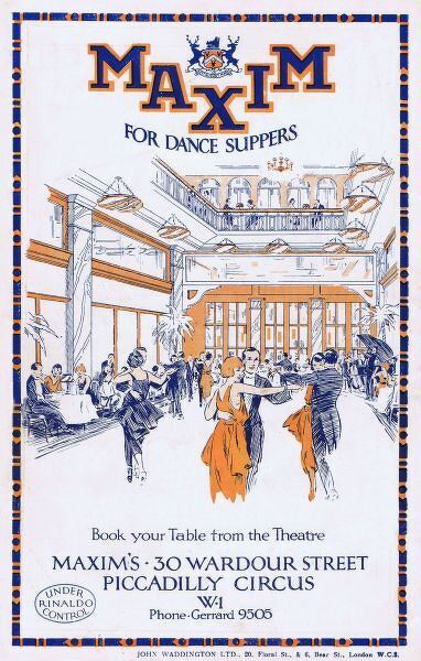 Advert for Maxim's dance and Supper Club, London, 1922, UK Date: 1922