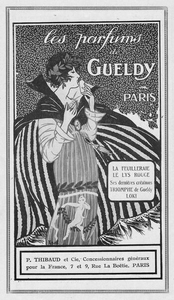 Advert for perfumes by Gueldy, 1920, Paris Date: 1920