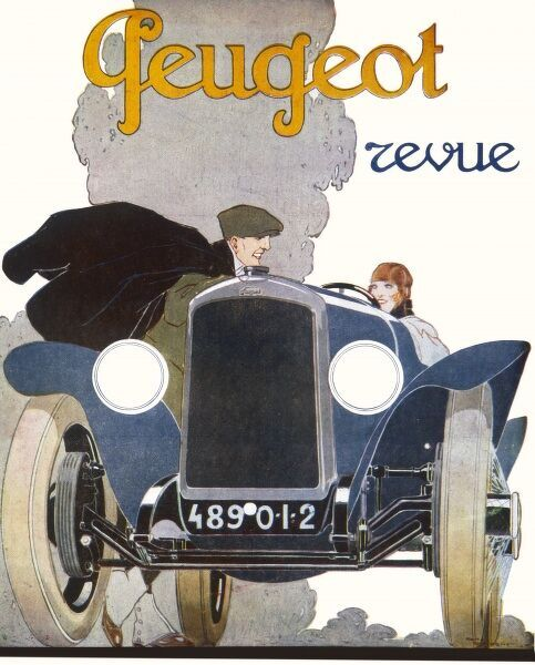 'Peugeot Revue - a fine advertisement for a Peugeot car. A gentleman tries to hitch a ride with a pretty young lady!