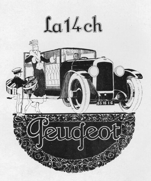 Advert for Peugeot automobiles, 1928, Paris Date: 1928