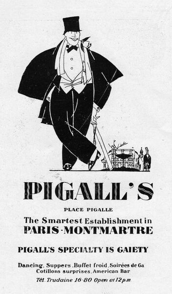 Advert for Pigall's nightclub, 1927, Paris Date: 1927