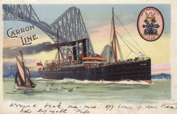 Advertising postcard for the Carron Line Ferries which ran a service from London to Glasgow. A ferry boat ('The Avon') is depicted here travelling under the Forth Rail Bridge. The Carron Line company was founded in 1759 and folded after World War II