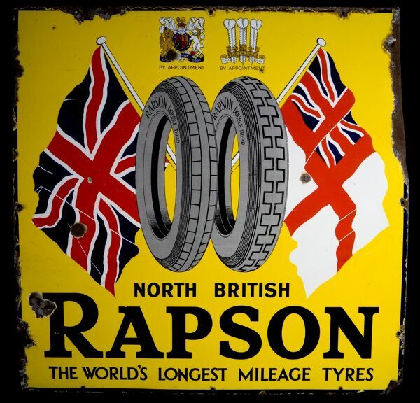 "A square enamel sign advertising Rapson Tyres - ""The World's longest mileage tyres"". *EDITORIAL USE ONLY*"
