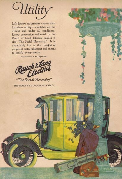 Advert for Rauch & Lanf Electric Motor Car, 1916, USA Date: 1916