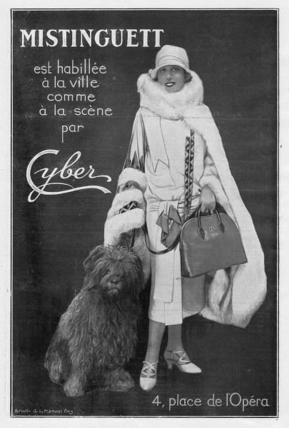 Advert showing Mistinguett wearing Cyber Couture outfit, 1924, Paris Date: 1924