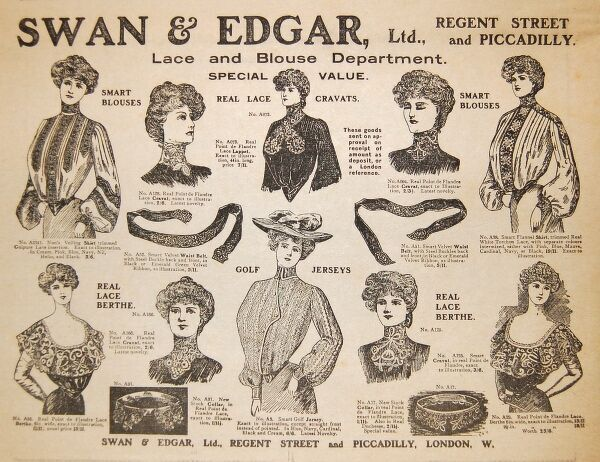 An advertisement for the Swan & Edgar department store at Piccadilly Circus, London, featuring items from the Lace and Blouse Department