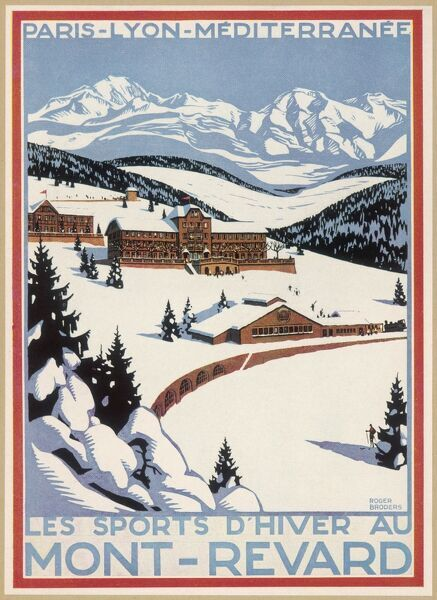 Poster inviting you to go winter-sporting at Mont- Revard, in the French Alps