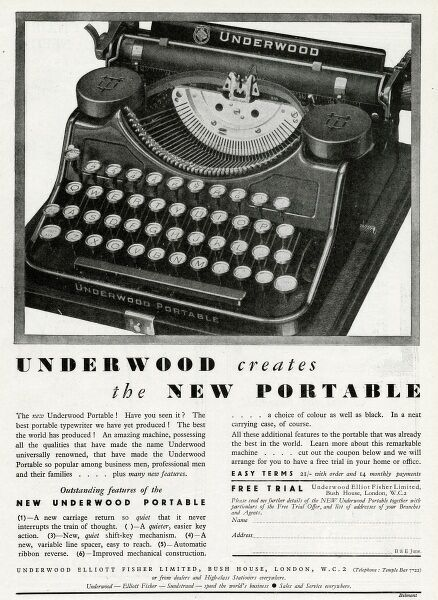 Underwood creates the new portable typewriter. With a quiet carriage that never interrupts the train of thought, a quieter key action and shift key, automatic ribbon reverse and a choice of colours as well as black. Date: 1931