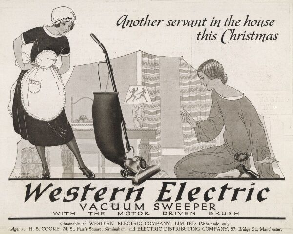 Advert for the housewife for christmas! 'Western Electric Vacuum Sweeper with the motor driven brush&#39