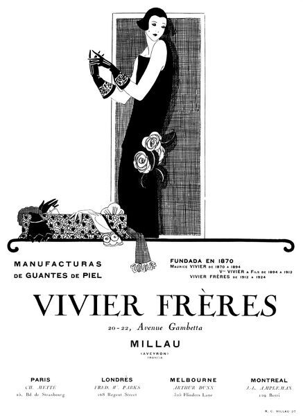 Advertisement for Vivier Freres leather gloves, featuring an elegant lady in a long black dress.  1924