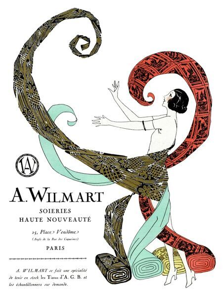 Advertisement for A Wilmart silk, Place Vendome, Paris, France. Featuring a woman with rolls of colourful patterned silks.  1924