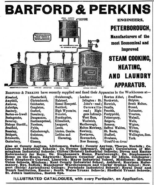 A trade advertisement for Barford & Perkins of Peterborough, suppliers of institutional cooking, heating and laundry equipment