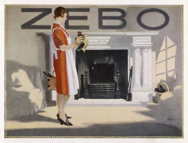 A woman stands back to admire her fireplace which she has just cleaned with ZEBO
