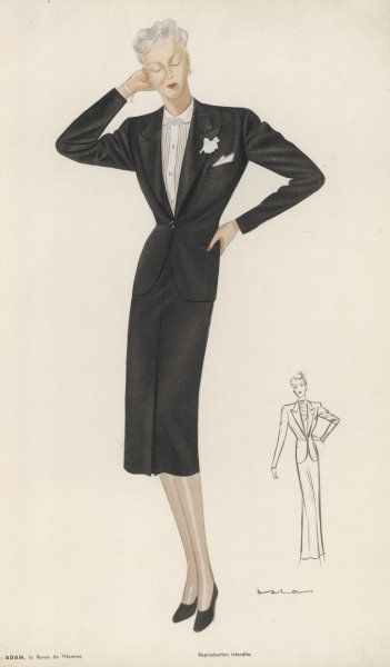 Woman's tailored costume based on a man's dinner jacket complete with white shirt, buttonhole and pocket handkerchief