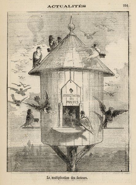 Huge increase in the number of postmen ! A comment on the 'pigeon post' which employs carrier pigeons to fly messages out of Paris over the heads of besieging Prussians