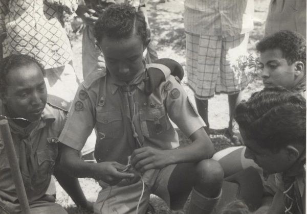 Scouts tying knots on a Patrol Leaders & Seconds' Course in Aden. 1954