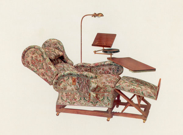 Adjustable armchair by J Foot & Son of New Bond Street, London, with built-in lamp, drinks stand, book rest, writing desk and foot-rest