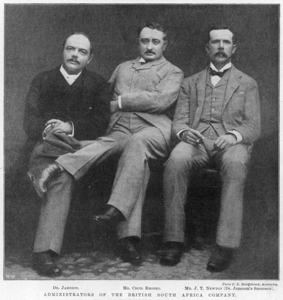 Form left to right: Dr Jameson, Mr Cecil Rhodes, Mr J. T. Newton (Dr Jameson's successor