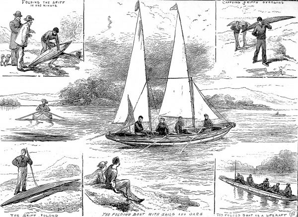 Engraving of Admiral McDonald's Patent Folding Boat, as exhibited at the Crystal Palace, London, November 1878. This lightweight, portable skiff can be seen employed as a liferaft (bottom right) or under sail and oar (centre)