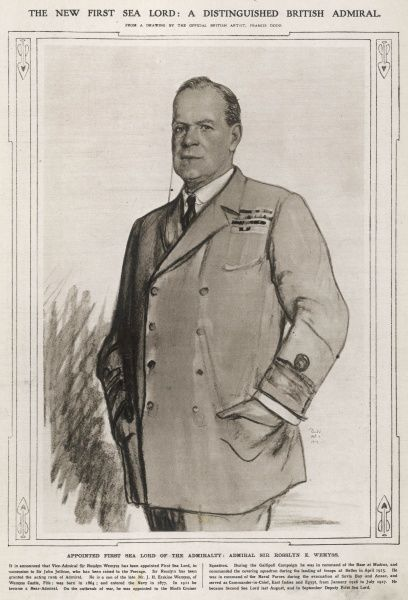 The new first Lord of the sea- A distinguised British Admiral. Sir Wemyss is appointed First Sea Lord, and succeeds Sir John Jellicoe in this rank