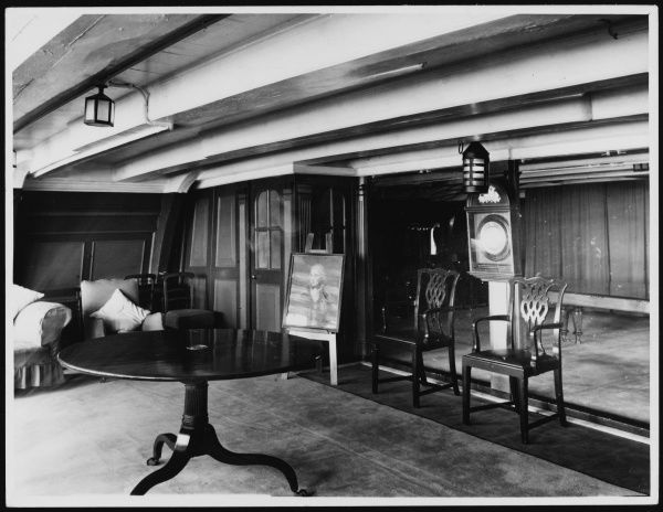 The Admiral's Quarters of Lord Horatio Nelson's flagship, H.M.S. Victory, Portsmouth, Hampshire England