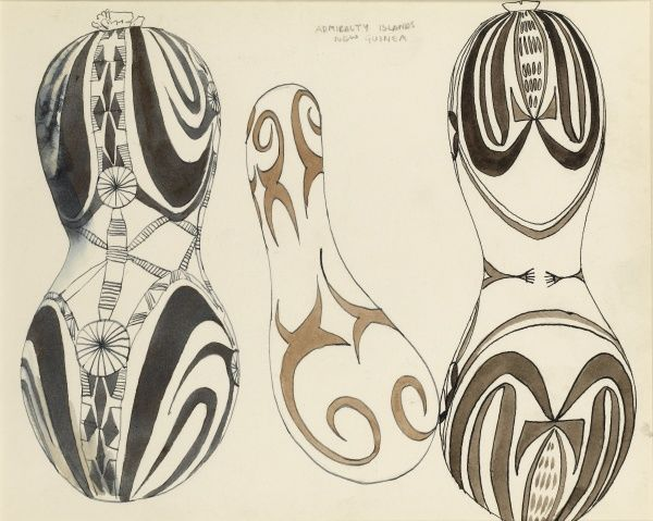 Decorated gourds from the Admiralty Islands, New Guinea. Pen & Ink with watercolour wash drawings by Raymond Sheppard
