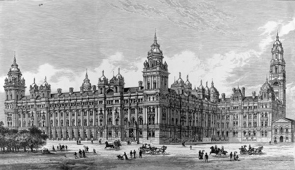 Engraving showing the exterior of the British Government's Admiralty and War Department Offices, Whitehall, London, 1884