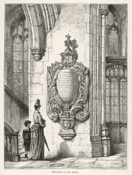 Sightseers admire the tomb of Lady Berry, in Stepney church, London