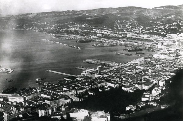 Aerial view of the Adriatic Italian naval base at Trieste, Italy. Date: 20th century