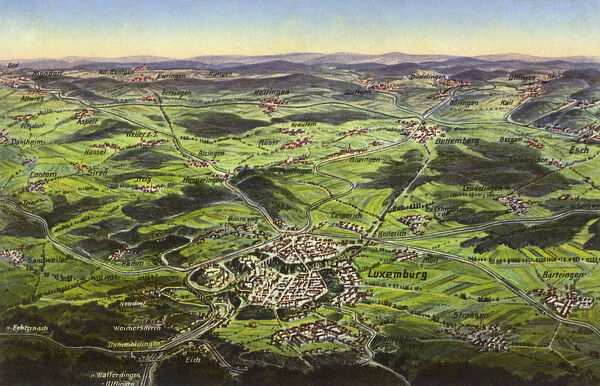 Aerial map view of luxembourg city luxembourg with roads and place aerial map view of luxembourg city luxembourg thecheapjerseys Images