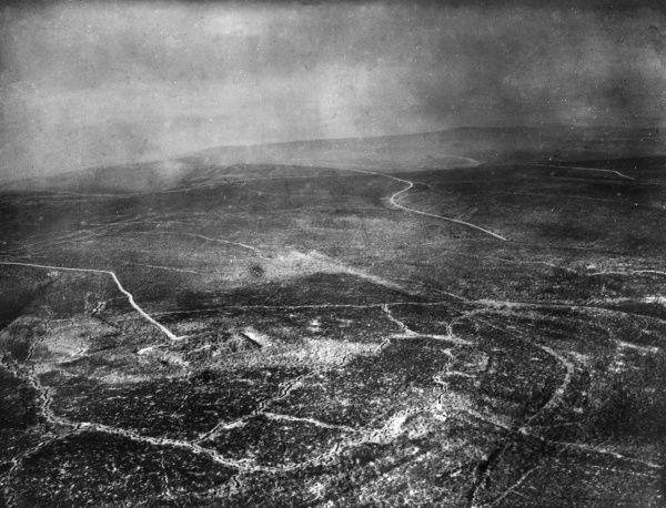 Aerial photograph (German) of the area around Fort Vaux, north eastern France, during the First World War. This was the second fort to fall to the Germans during the Battle of Verdun, in June 1916. Date: 10 March 1916
