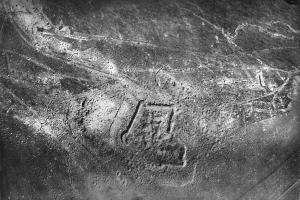 Aerial photograph (German) of the Fort at Souville, north eastern France, which was attacked by heavy shelling by the Germans during the Battle of Verdun, First World War. The damage is still visible today, with large water-filled shell craters