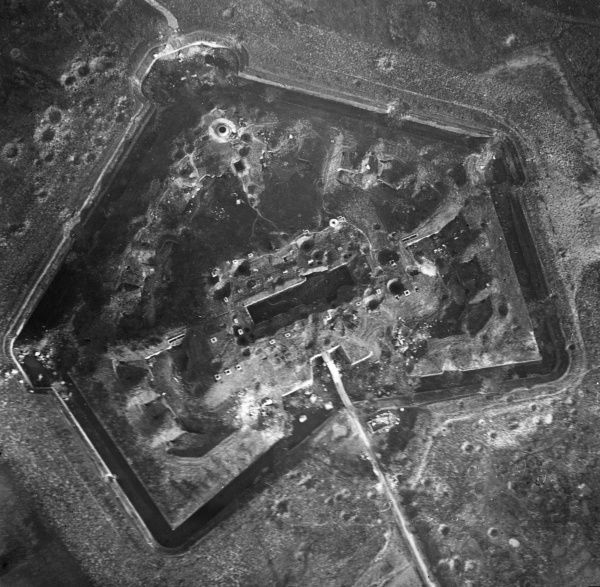 Aerial photograph (German) of the fortress at Maubeuge, northern France, during the First World War. The fortress was besieged and badly damaged by the Germans between 24 August and 7 September 1914. Date: 1915