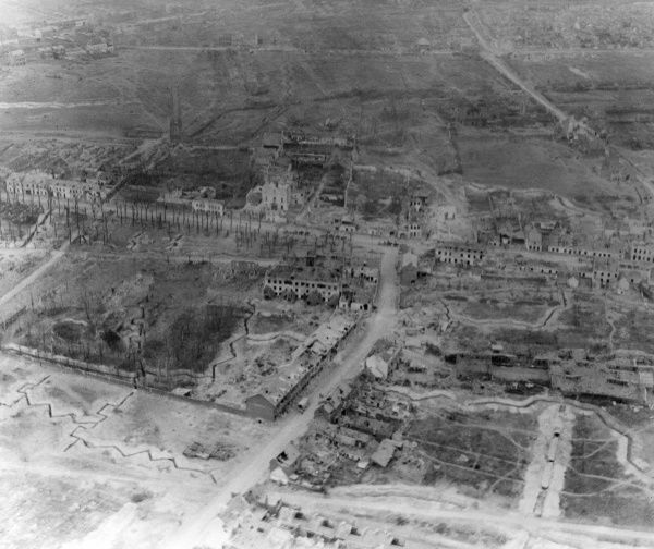 Aerial photograph (Canadian) of the ruined suburbs of Arras in northern France, taken from a kite balloon during the First World War. Date: November 1917