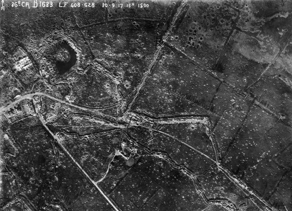 Aerial photograph (British) of a large number of shell holes in the Ypres district, Belgium, during the First World War. Date: 30 September 1917