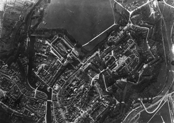 Aerial photograph (German) of Verdun and citadel, north eastern France, during the First World War. Date: 23 September 1917
