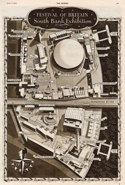 Aerial plan of the Festival of Britain site, South Bank, London, showing all the main buildings and other venues of interest. Date: May 1951