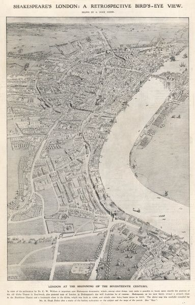 Aerial view of London, at the beginning of the seventeenth century