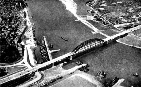 Aerial photograph showing the road bridge across the Waal at Nijmegen, Holland, 1944. This photograph was taken prior to Operation 'Market Garden'; the audacious plan to lay an Allied 'carpet' of Airborne troops from Eindhoven to Arnhem