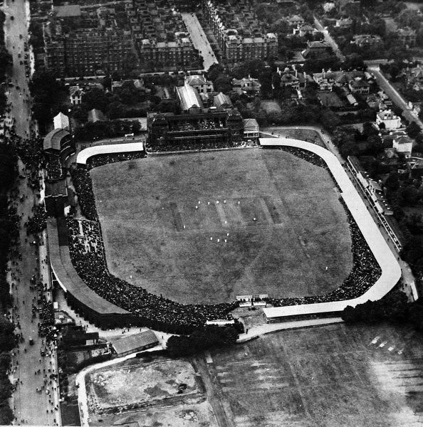 Aerial photograph of Lord's Cricket Ground during the second Test Match between England and Australia, 11th June 1921. On this day 30,000 spectators crammed into Lord's, but hundreds of disappointed people were left outside the gates