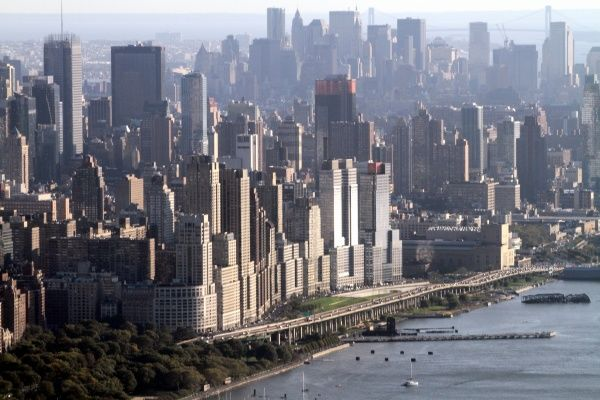 Aerial view of the New York City skyline and midtown Manhattan, America circa 2008