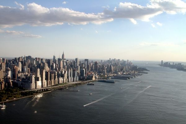Aerial view of the New York City skyline, the Hudson River and midtown Manhattan, America circa 2008