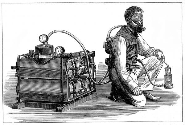Engraving of the 'Aerophore' Breathing Apparatus, invented by the French engineer M. Denayrouze, 1874. Denayrouze designed this compressed air breathing machine for use in exploring mines full of noxious gases