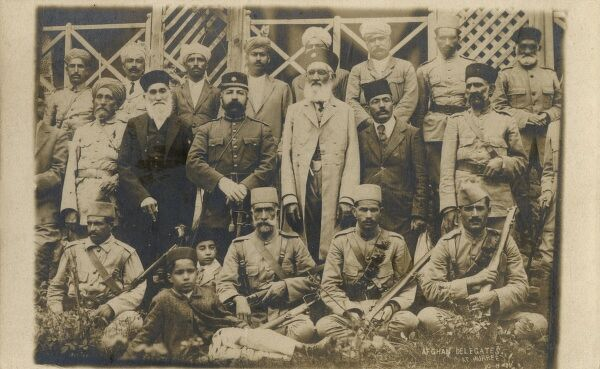 The Afghan delegation, two days after the signing of the Treaty of Rawalpindi, signed at Murree on 8th August 1919 - between Afghanistan and Britain during the Third Anglo-Afghan War. Sardar Ali Ahmad Khan (pictured) represented the Amir of Afghanistan