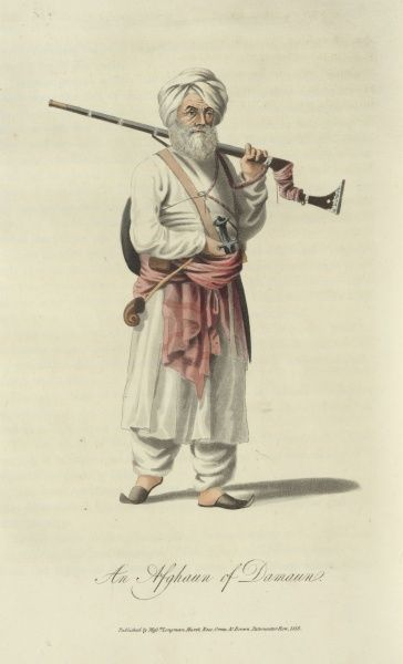 An Afghaun of Damaun. An armed Afghan resting a firearm on his shoulder. he has a sword hung at his side and a small circular shield slung over his back.  1815