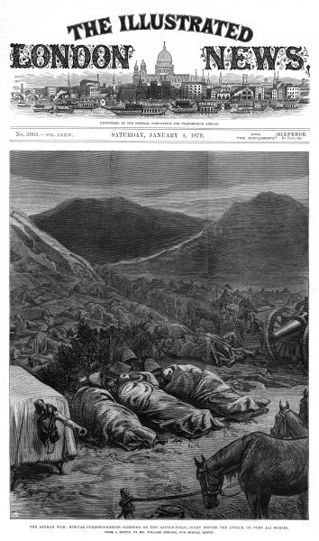 During the Afghan War Special Correspondents, including Archibald Forbes of the Daily News, Phil Robinson of the Daily Telegraph and William Simpson, Special Artist of the IIlustrated London News, find a sheltered spot to sleep on the battlefield