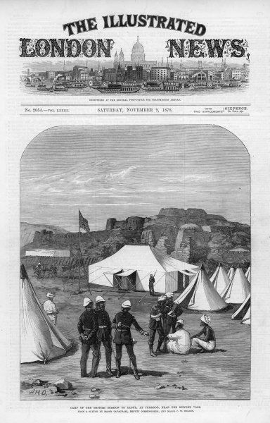 The camp of the British Mission to Kabul, at Jumrood, near the Khyber Pass. The Mission was turned back by the Afghan Emir Sher Ali